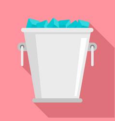 ice metal bucket icon flat style vector image