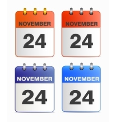 Icons of calendar with Thanksgiving Day vector image