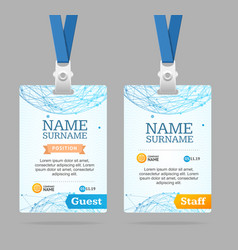 Id card template plastic badge vector