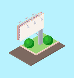 Isometric billboard on green ground near road for vector
