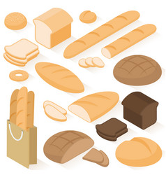 Isometric bread icons vector