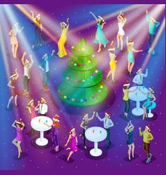 isometric celebration christmas 3d dancing vector image