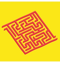 Isometric labyrinth on yellow vector image vector image