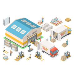 isometric warehouse icon set scheme logistic vector image