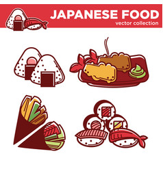 Japanese food collection of tasty exotic vector