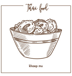 Khaep mu in deep bowl from thai food vector