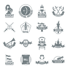Knight medieval logo icons set simple style vector