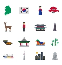 Korean Culture Symbols Flat Icons Set vector