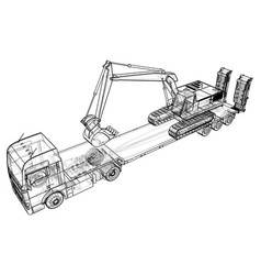 Low bed truck trailer and excavator abstract vector