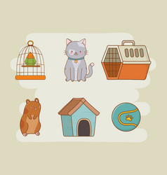 mascot care set icons vector image