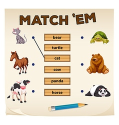 Matching game with cute animals vector image