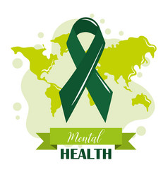 Mental health day green ribbon world awareness vector