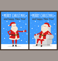 merry christmas thumb up vector image