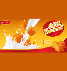 Milk caramel advertising poster vector