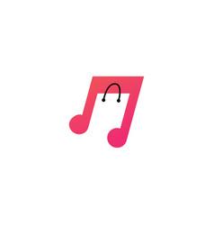 music shop shopping bag logo icon vector image
