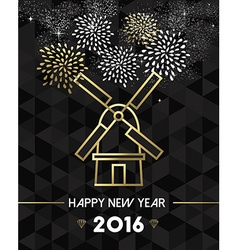 New Year 2016 netherlands windmill travel gold vector image