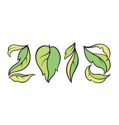 Number 2018 eco style with green leaves calendar vector
