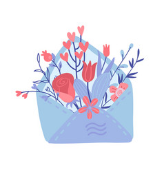 open love letter with flowers inside over envelope vector image
