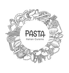 Pasta circle frame hand drawn monochrome vector