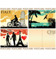 picture postcards set vector image