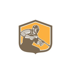 Pressure Washer Cleaner Worker Shield Retro vector image
