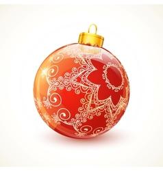 Red ornate shining Christmas ball vector image