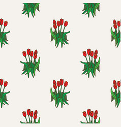 Red tulip bouquet seamless pattern vector