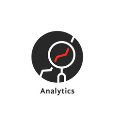round simple analytics logo isolated on white vector image