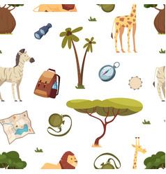 safari pattern africa travel leo giraffe vector image