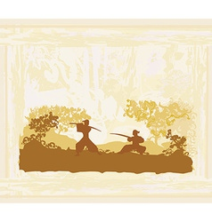Samurai silhouette in abstract Asian Landscape vector