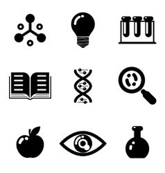 Science education research study web icons set vector image