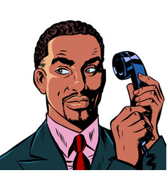 Serious african man talking on a retro phone vector