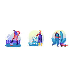 set happy characters working in summer garden vector image
