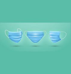 set medical face mask blue surgical mask vector image