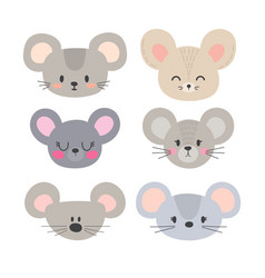 Set of cute mouses funny doodle animals little vector