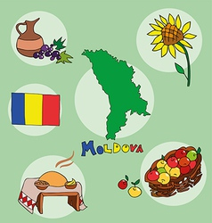 Set of national profile of the moldova vector