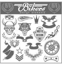 Set of vintage motorcycle design elements for vector