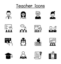 set teacher icons contains such icons vector image