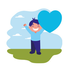 smiling boy holding heart love vector image