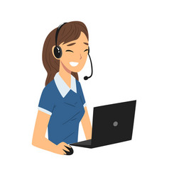 Smiling female call center operator customer vector