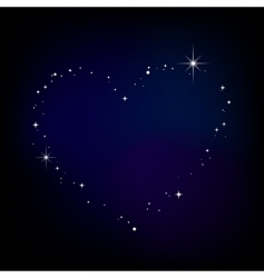 star heart in night sky vector image