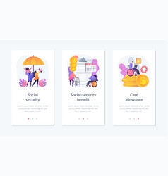 State social security system app interface vector