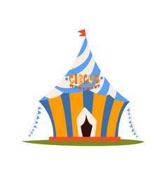striped circus tent with flag circus show element vector image