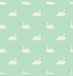 Swan seamless pattern on mint background vector