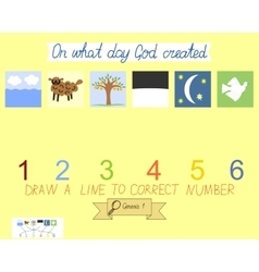 Task for children how to place days of creation vector image