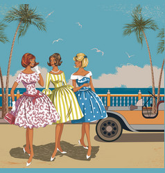 Three women at the sea vector