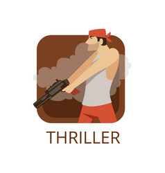 Thriller cinema genre symbol for cinema or vector