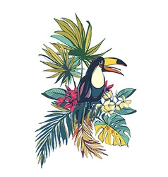 Tropical floral summer beach party card with palm vector