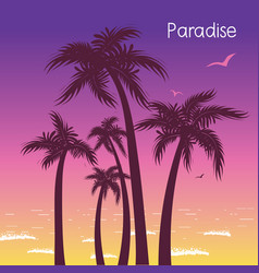 Tropical island paradise with palms silhouette in vector