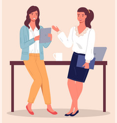 Two women chatting in office during a coffee vector